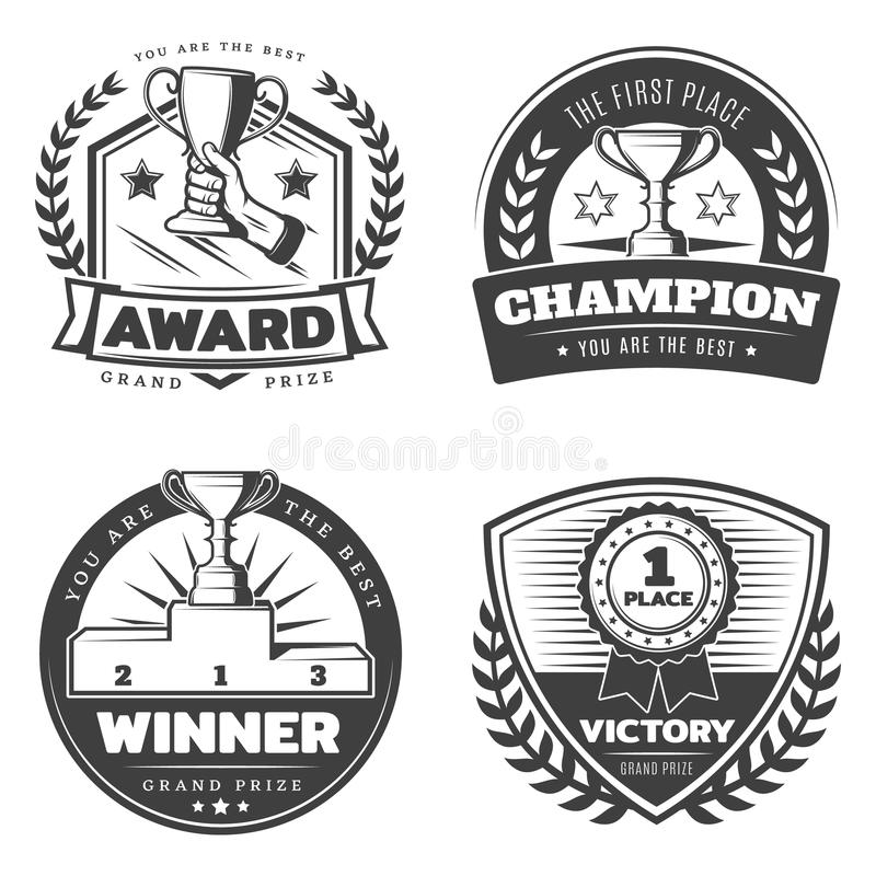Vintage Sport Prizes Emblems Set. With arm holding cup ribbon award laurel wreath and pedestal isolated vector illustration royalty free illustration