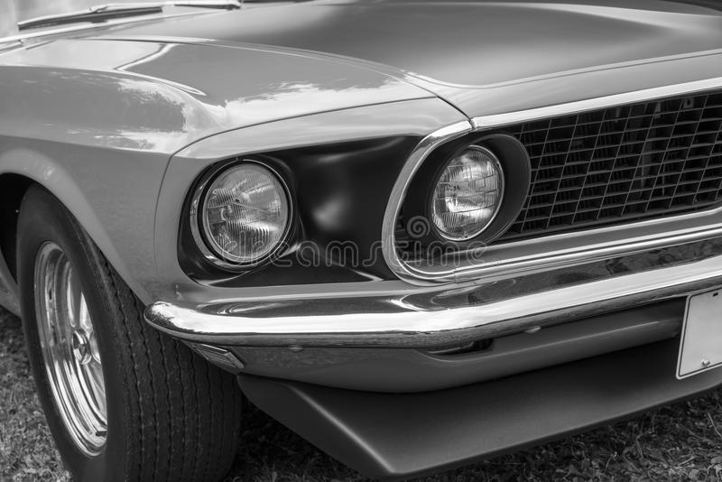 1969 Mustang front end. Closeup of vintage ford mustang boss 302 front end stock image