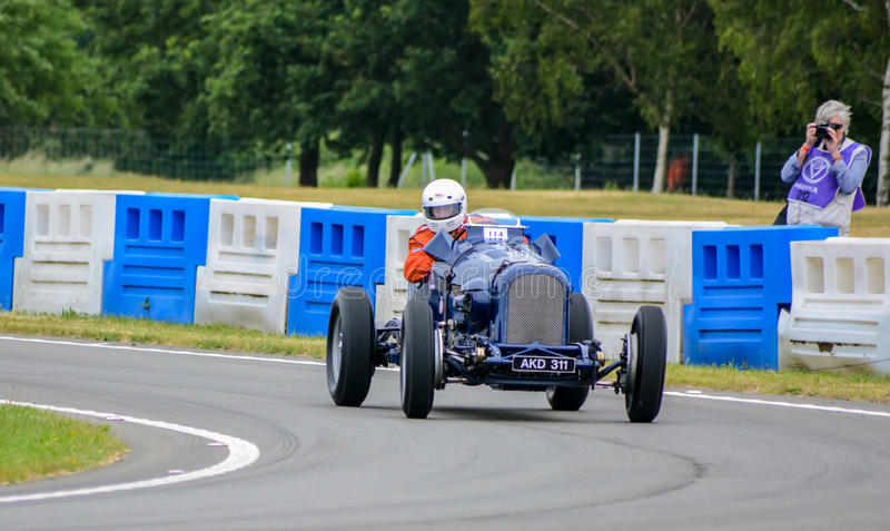 Vintage Sports Car - Blue. The Double Twelve Speed Trials on the Mercedes-Benz World circuit at the Brooklands Museum. Professional photographer captures a