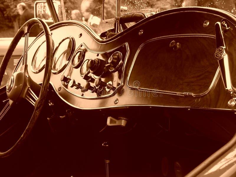 Vintage sports car interior stock photo