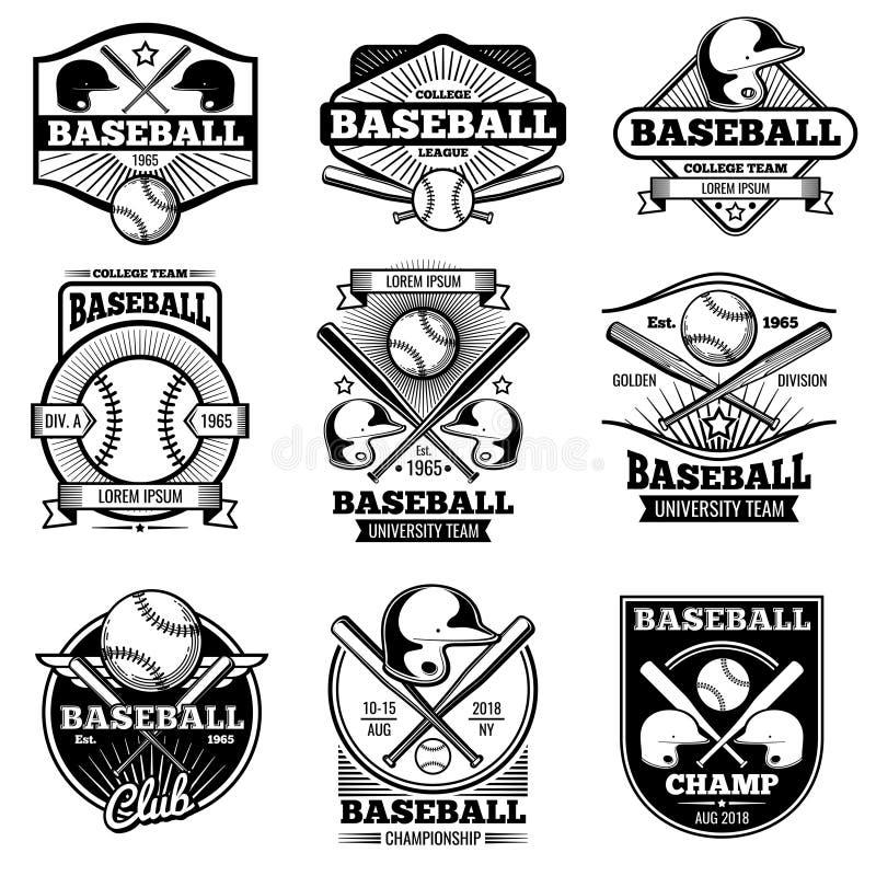 Vintage sports logo design. Retro baseball vector label and badges royalty free illustration