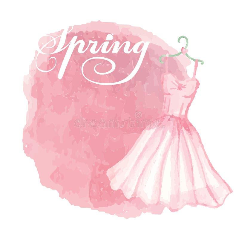 Vintage spring card.Watercolor pink dress,spot. Cute retro Card.Watercolor pink dress on hanger,grunge spot,backdrop.Hand drawn doodle sketchy,watercolor decor vector illustration