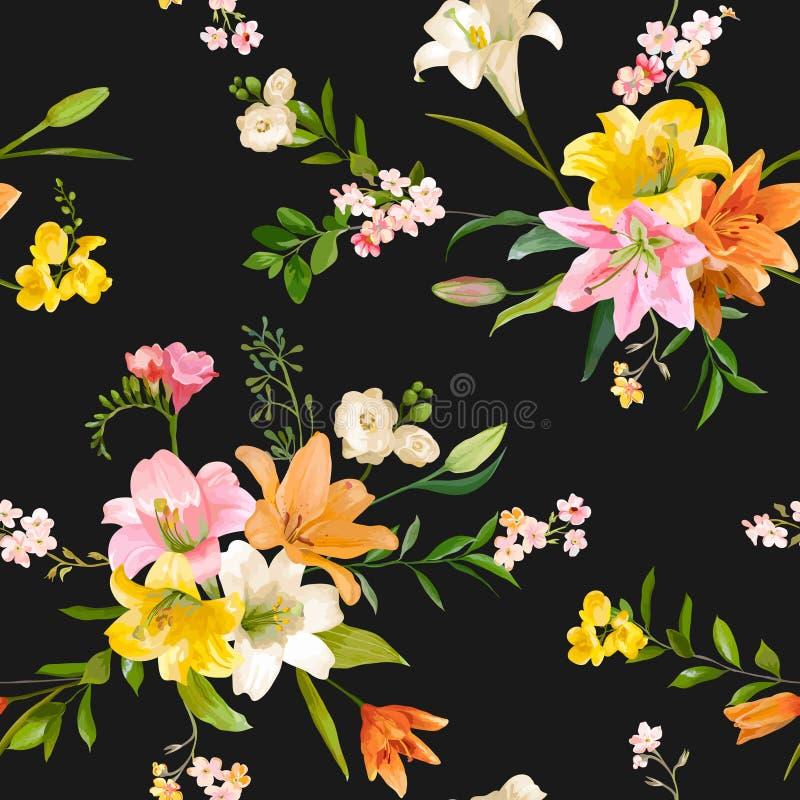 Vintage Spring Flowers Background - Seamless Floral Lily Pattern vector illustration