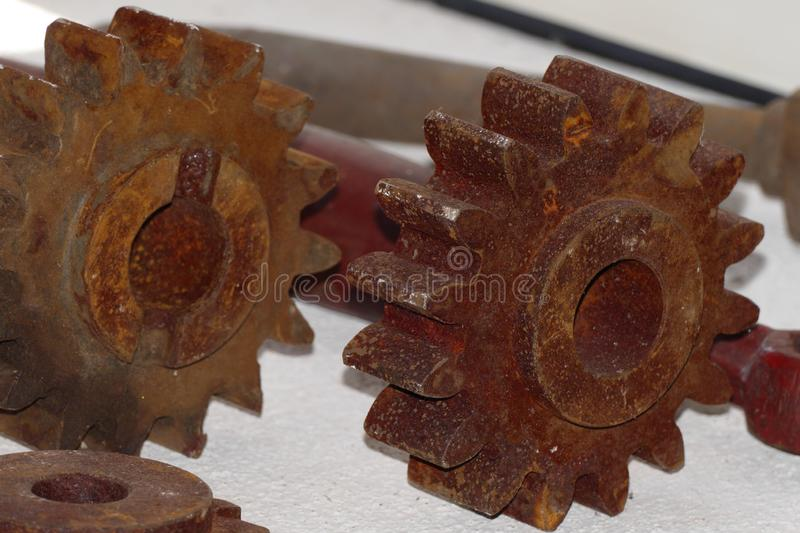 Vintage spur gear with rost stock photography