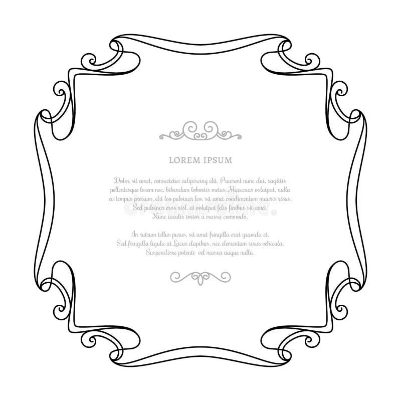 Vintage square calligraphic frame in retro style. Vintage calligraphic square frame, decorative element in retro style, wedding invitation or announcement design stock illustration