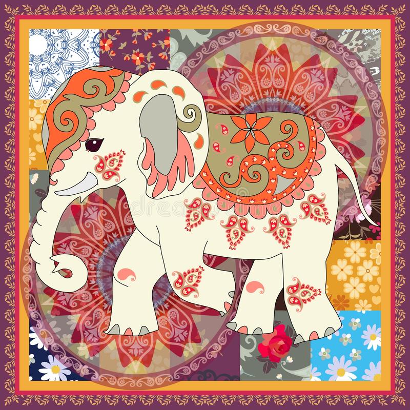 Vintage square card with cute cartoon indian elephant, flower mandala and paisley in patchwork style. Napkin, cushion. Print for bag. Ethnic motives. Vector vector illustration