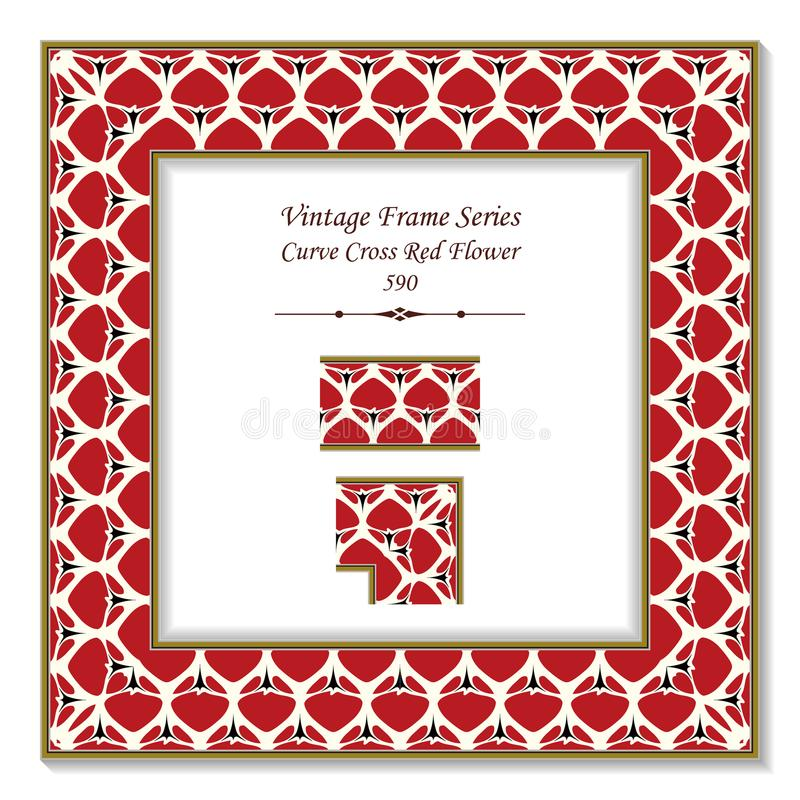Vintage square 3D frame curve cross garden red flower vector illustration