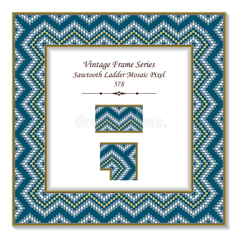 Vintage square 3D frame sawtooth ladder mosaic pixel geometry wa. Ve, retro style template ideal for invitation or greeting card design royalty free illustration