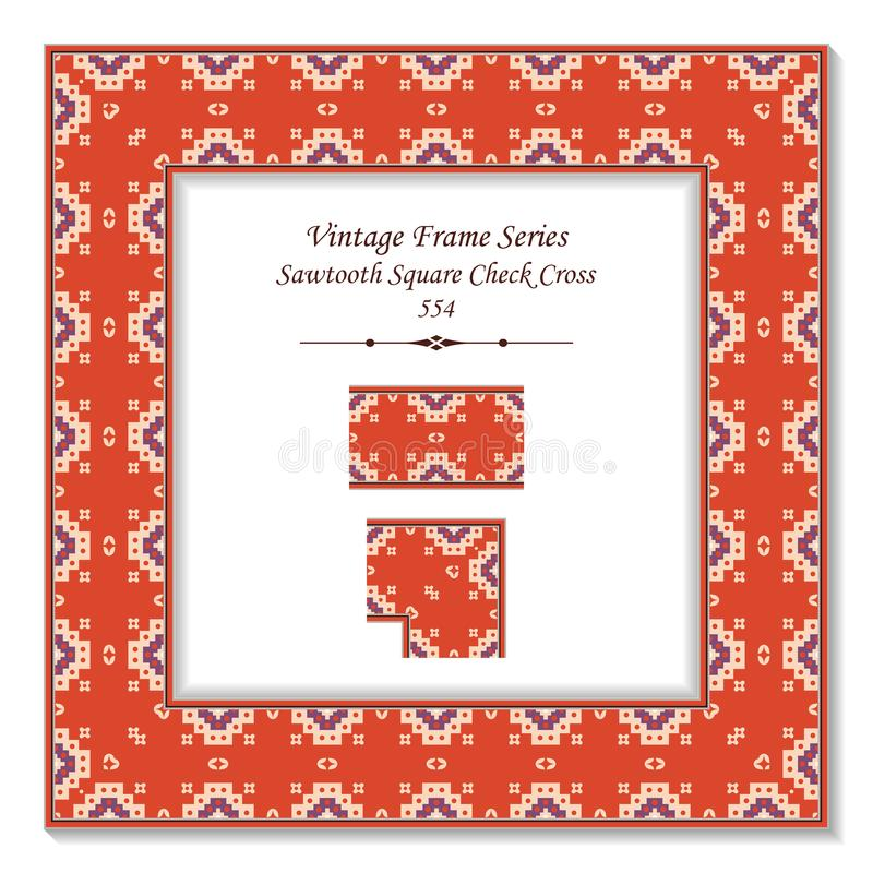 Vintage square 3D frame sawtooth square check cross dot. Retro style template ideal for invitation or greeting card design royalty free illustration