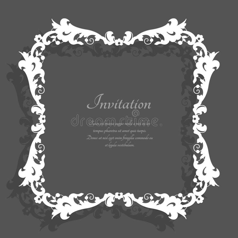 Vintage square frame with lace border pattern. Elegant decoration for wedding invitation card, template for tablecloth or handkerchief edging stock illustration