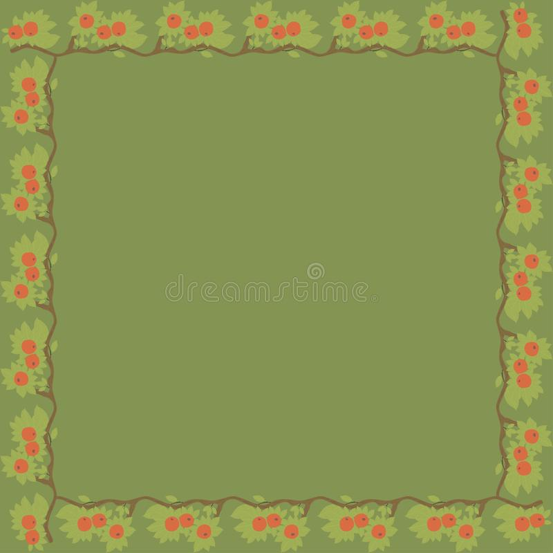Vintage square frame with red apples. stock photos