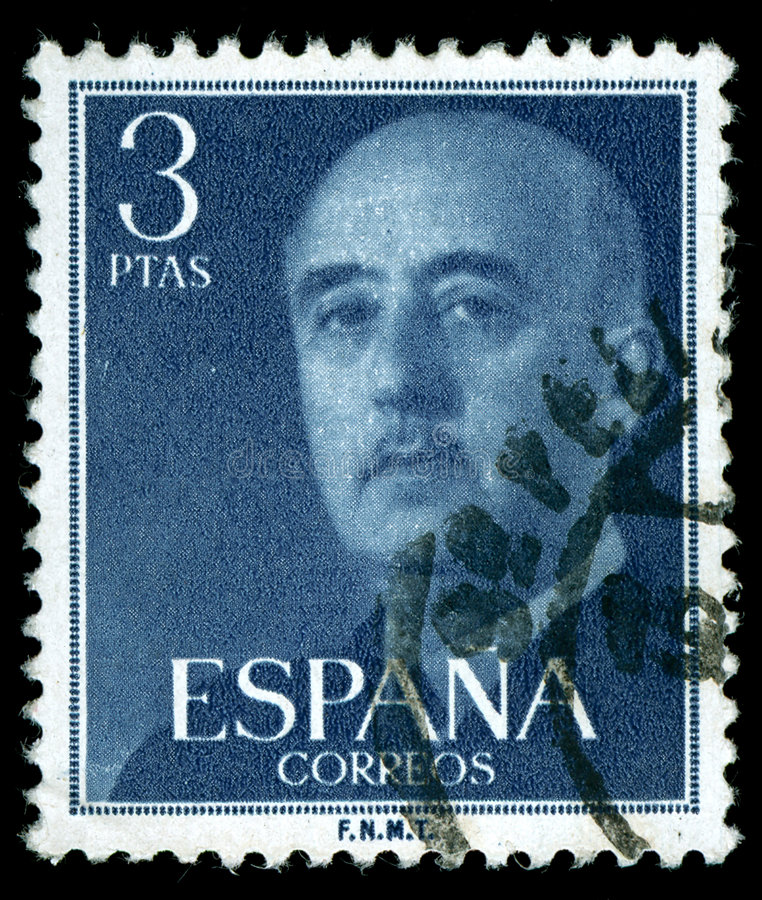 Vintage stamp. Depicting the dictator General Francisco franco of Spain who came to power after the Spanish civil war royalty free stock images