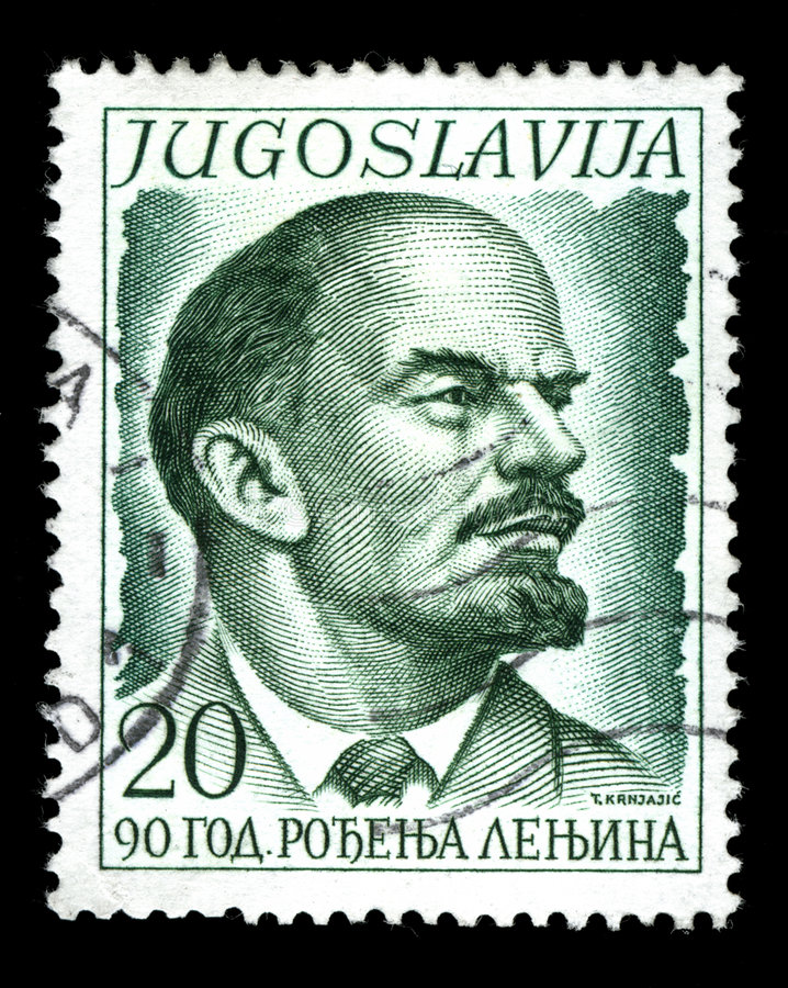 Vintage stamp. Depicting Vladimir Lenin one of the founding figures of the communist party of Russia and the Russian Revolution stock photos