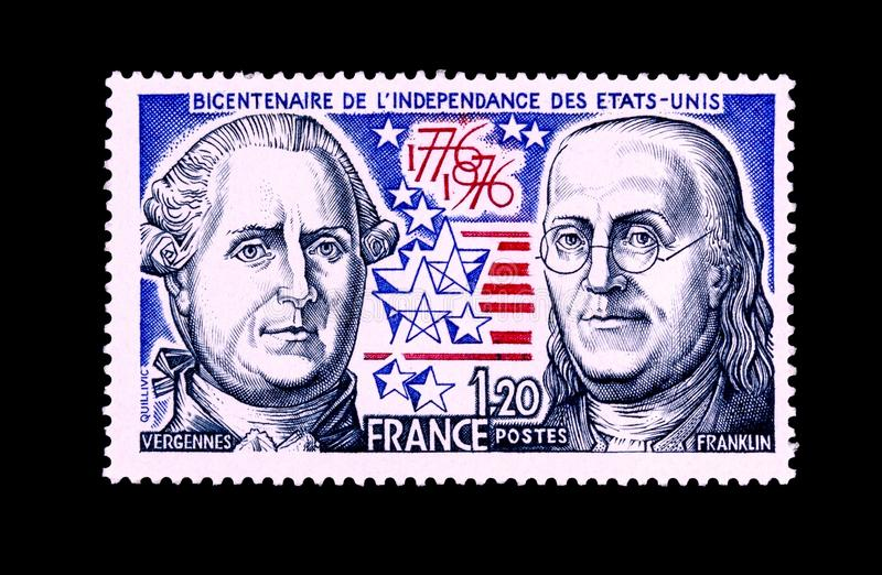 Stamp of the bicentennial of the independence of the USA. Vintage Stamp commemorating the bicentennial of the independence of the United States with Franklin and royalty free stock photography