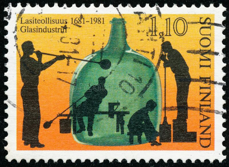 Vintage stamp printed in Finland 1981 show a 300th Anniversary of The first Glass Factory in Uusikaupunki. POLTAVA, UKRAINE - May 15, 2020. Vintage stamp printed stock image