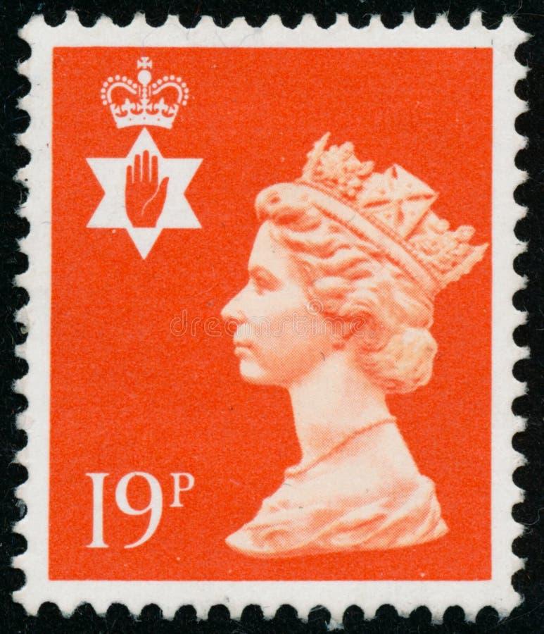 Vintage stamp printed in Great Britain 1988 shows Queen Elizabeth II, Regional Definitives, Norten Ireland. POLTAVA, UKRAINE - JUNE 26, 2019. Vintage stamp stock images