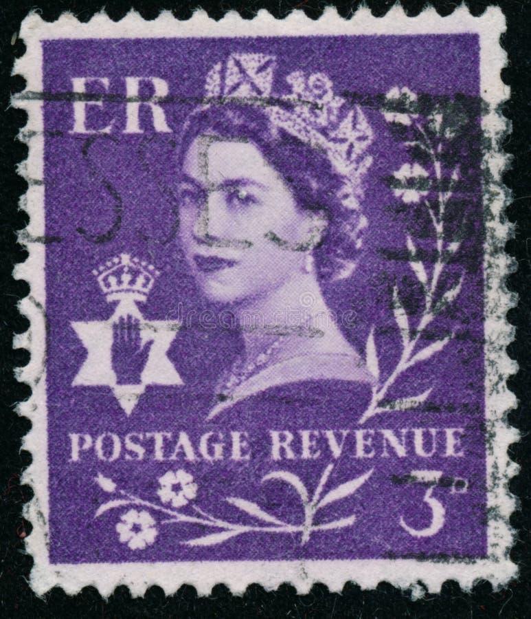 Vintage stamp printed in Great Britain 1958 shows Queen Elizabeth II, Regional Definitives, Norten Ireland. POLTAVA, UKRAINE - JUNE 26, 2019. Vintage stamp stock images