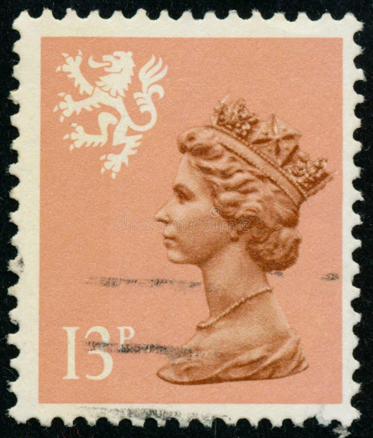 Vintage stamp printed in Great Britain 1984 shows Queen Elizabeth II, Regional Definitives, Wales. POLTAVA, UKRAINE - JUNE 26, 2019. Vintage stamp printed in stock photos
