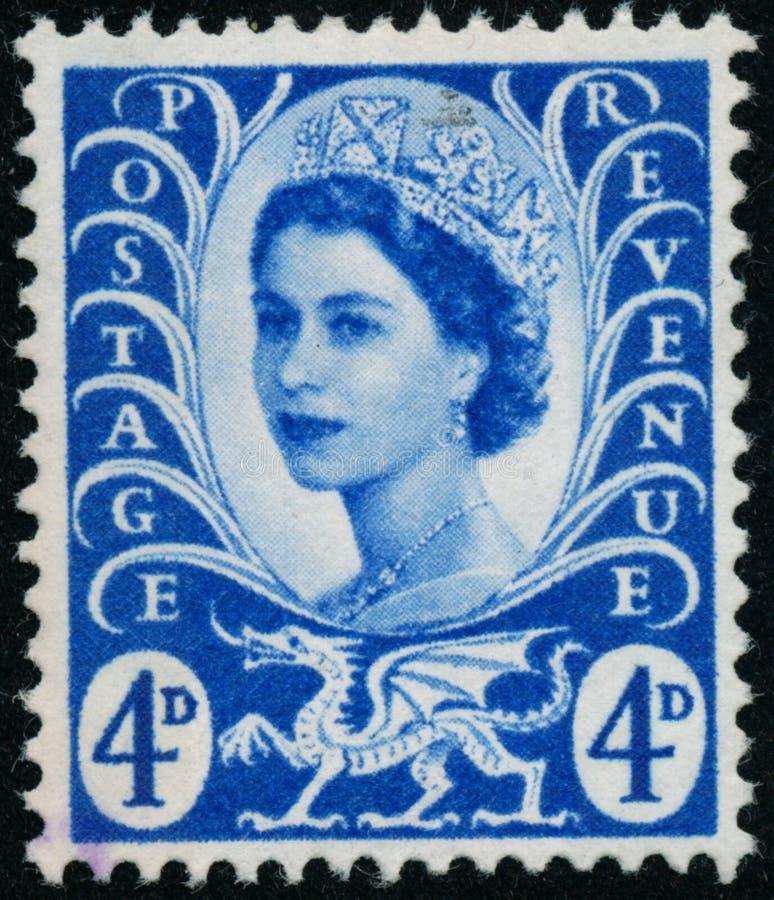 Vintage stamp printed in Great Britain 1966 shows Queen Elizabeth II, Regional Definitives, Wales. POLTAVA, UKRAINE - JUNE 26, 2019. Vintage stamp printed in royalty free stock photo