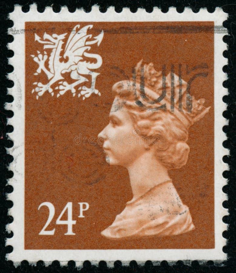 Vintage stamp printed in Great Britain 1988 shows Queen Elizabeth II, Regional Definitives, Wales. POLTAVA, UKRAINE - JUNE 26, 2019. Vintage stamp printed in royalty free stock photo
