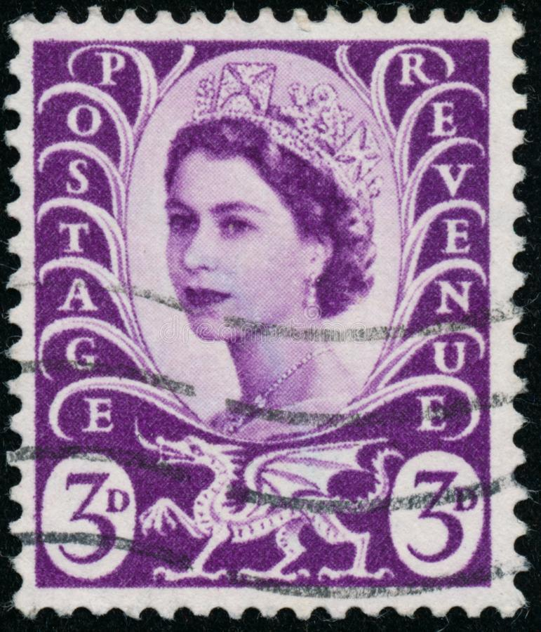 Vintage stamp printed in Great Britain 1958 shows Queen Elizabeth II, Regional Definitives, Wales. POLTAVA, UKRAINE - JUNE 26, 2019. Vintage stamp printed in stock photography