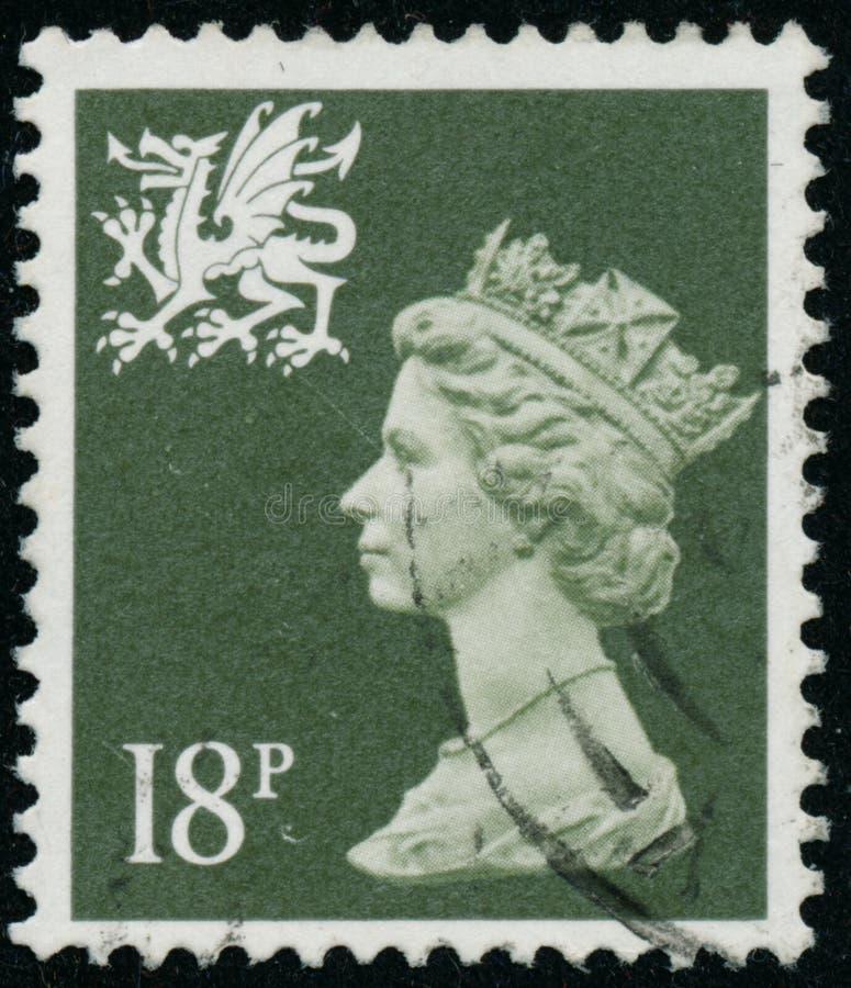 Vintage stamp printed in Great Britain 1987 shows Queen Elizabeth II, Regional Definitives, Wales. POLTAVA, UKRAINE - JUNE 26, 2019. Vintage stamp printed in royalty free stock photo