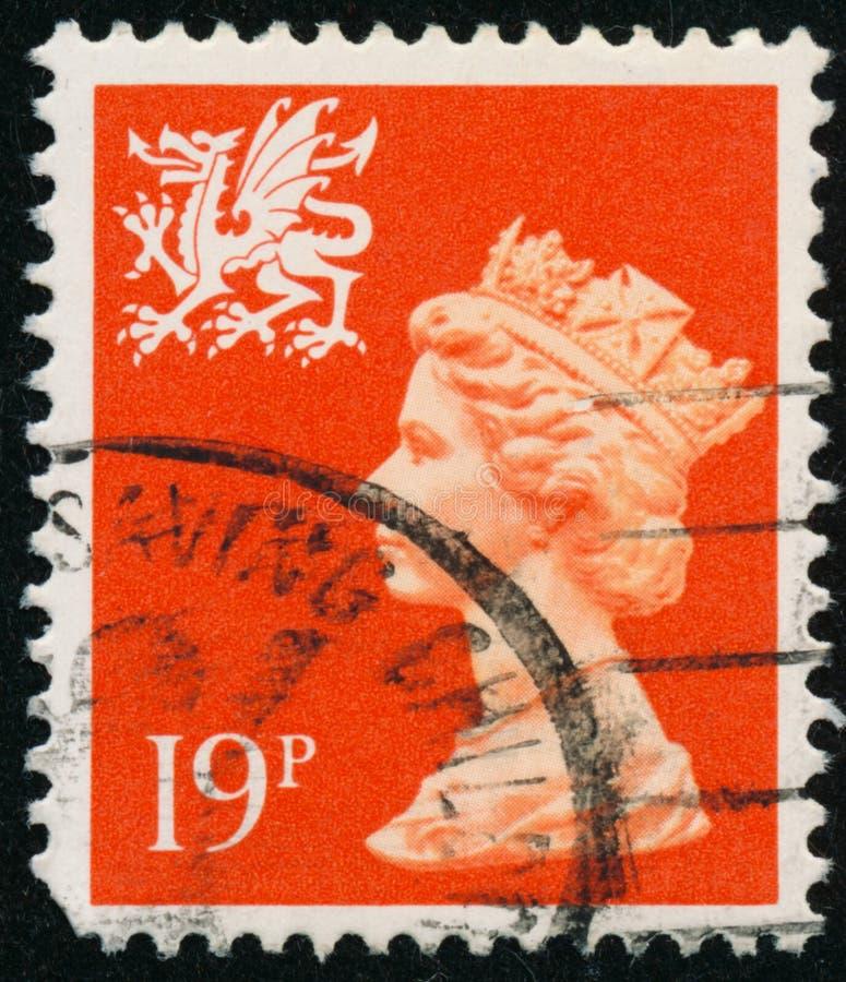 Vintage stamp printed in Great Britain 1987 shows Queen Elizabeth II, Regional Definitives, Wales. POLTAVA, UKRAINE - JUNE 26, 2019. Vintage stamp printed in stock photo