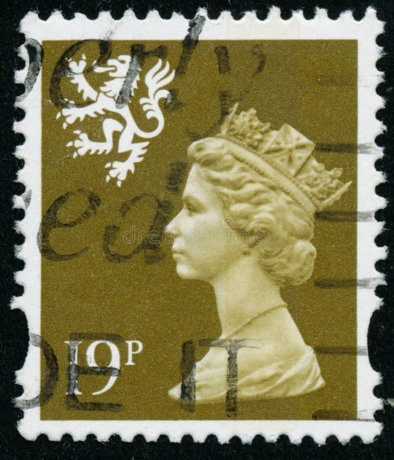 Vintage stamp printed in Great Britain 1993 shows Queen Elizabeth II, Regional Definitives, Wales. POLTAVA, UKRAINE - JUNE 26, 2019. Vintage stamp printed in royalty free stock photo