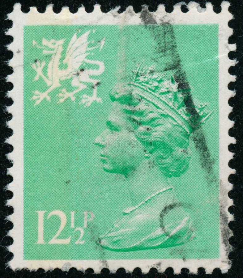 Vintage stamp printed in Great Britain 1982 shows Queen Elizabeth II, Regional Definitives, Wales. POLTAVA, UKRAINE - JUNE 26, 2019. Vintage stamp printed in stock photos