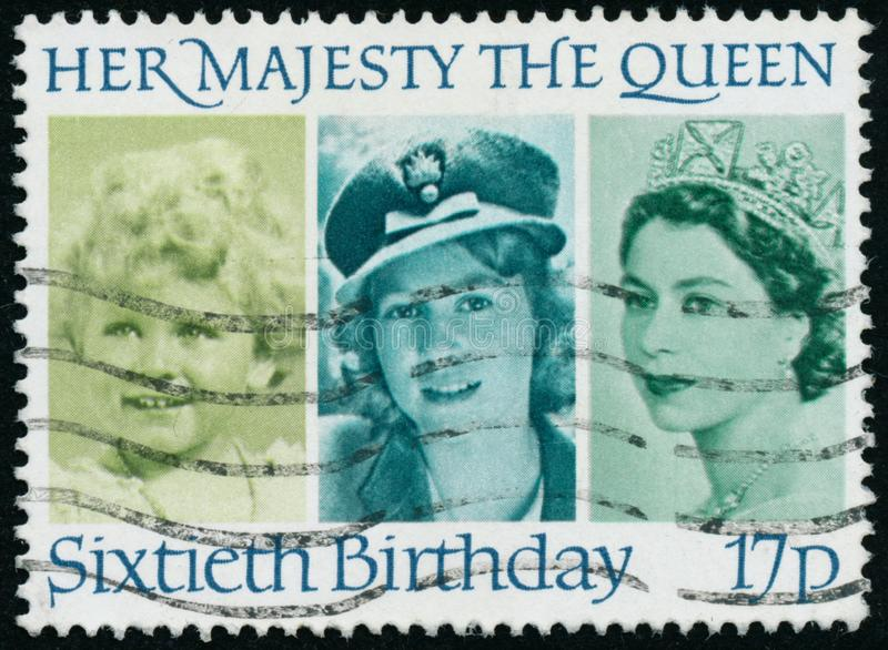 Vintage stamp printed in Great Britain 1986 shows The 60th Anniversary of the Birth of Queen Elizabeth II stock photos