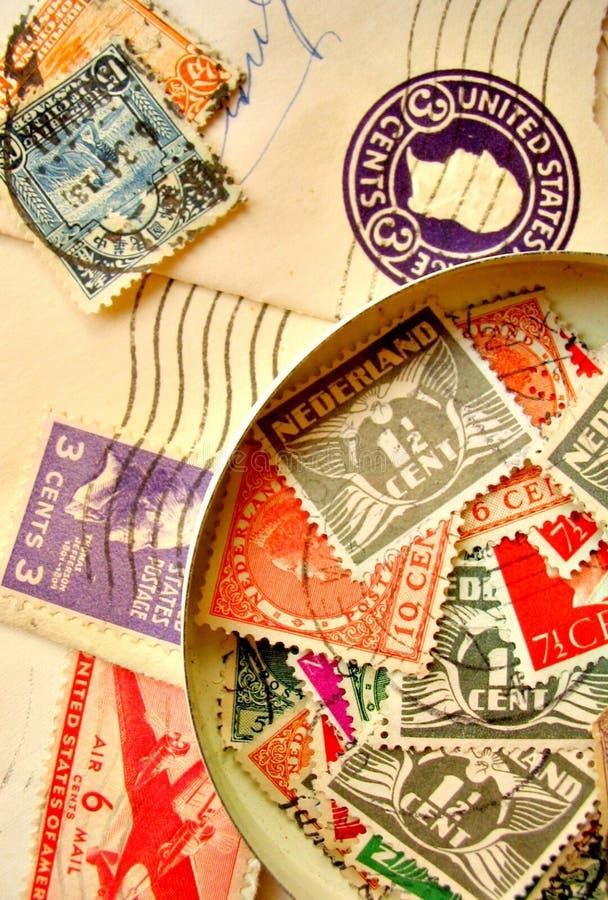Vintage stamps on envelopes royalty free stock photos