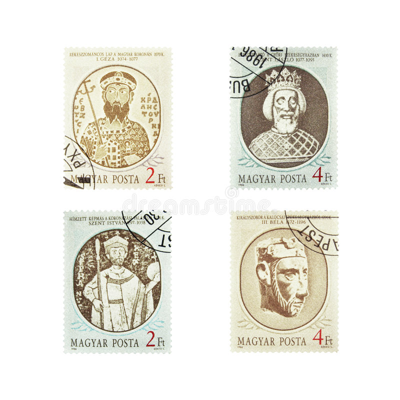 Vintage Stamps from Magyar. Vintage stamps collection from Magyar Posta 1986 (include clipping path stock photography