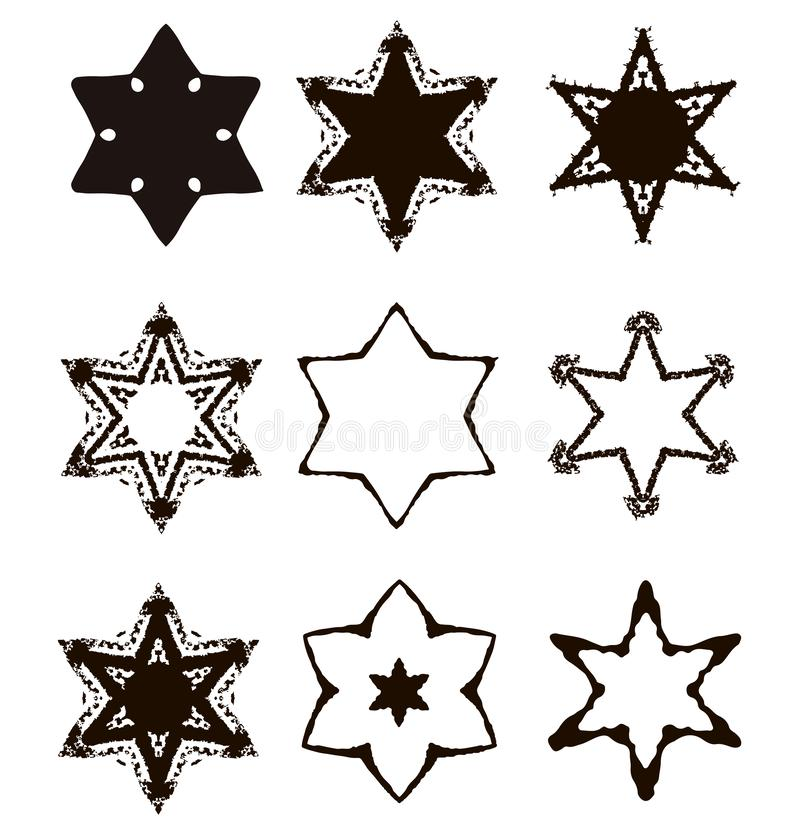 Vintage Star of David. Jewish six-pointed star. Set. Hand draw. Vector illustration on isolated background. vector illustration