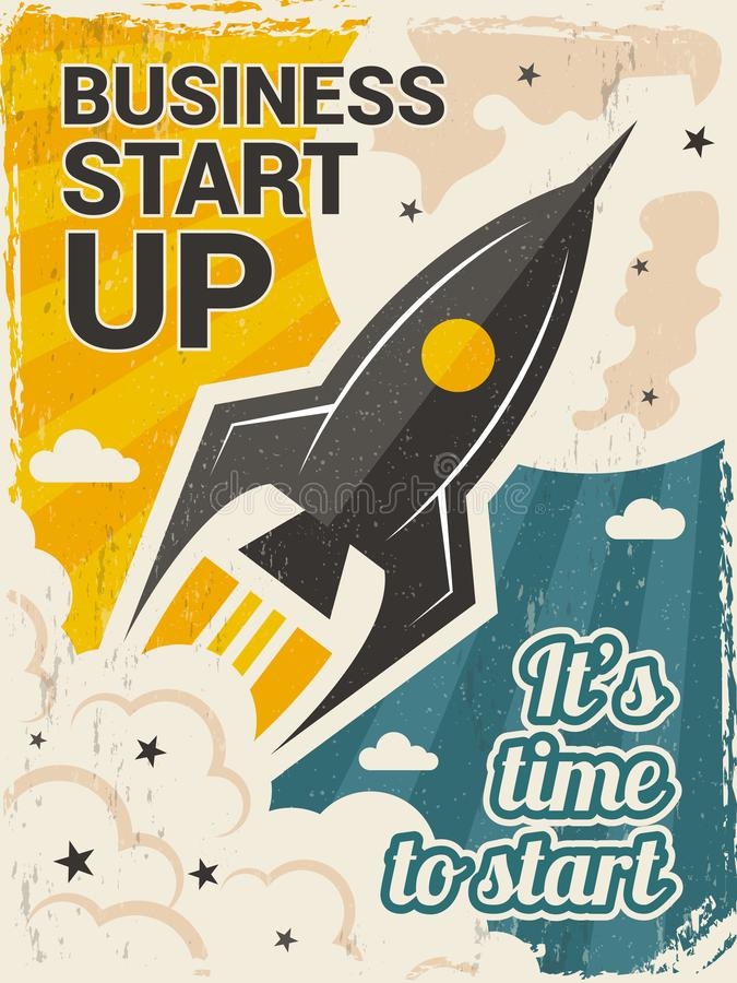 Vintage startup poster. Business launch concept with rocket or space shuttle start vector placard in retro style royalty free illustration