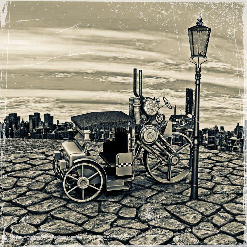 Vintage Steam Cab Taxi vector illustration