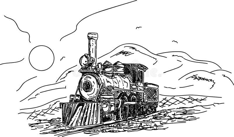 Download Vintage Steam engine stock vector. Image of cartoon, line - 18490819