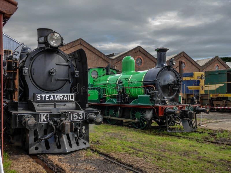 Vintage Steam Locomotive a Newport Victoria Australia Marzo 2020 fotografia stock libera da diritti