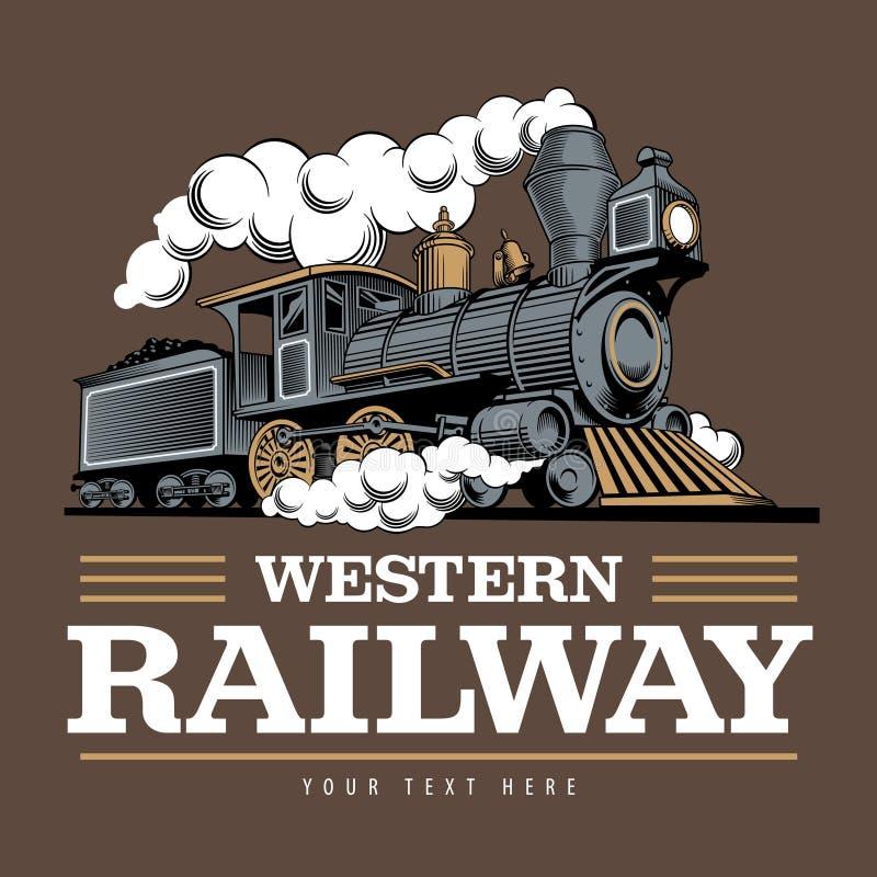 Vintage steam train locomotive, engraving style vector illustration. Logo design template. Vintage steam train locomotive, engraving style vector illustration vector illustration