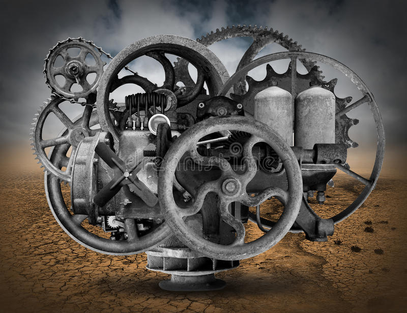 Antique Wheels And Gears : Vintage steampunk industrial machine background stock