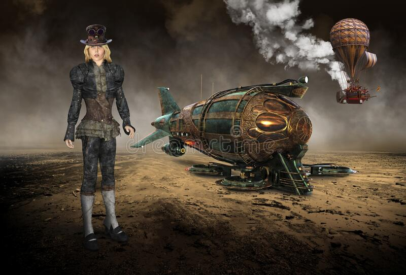 Vintage Steampunk Technology, Machines, Girl, Surreal stock images