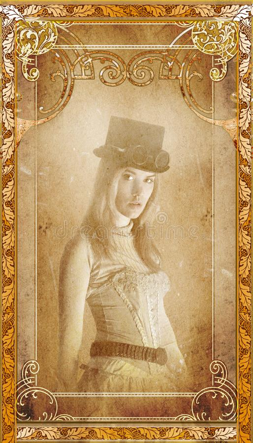 Vintage Steampunk Woman Portrait Background. Vintage retro portrait of an old photograph with a steampunk woman. The girl is on an antique paper background royalty free stock photo