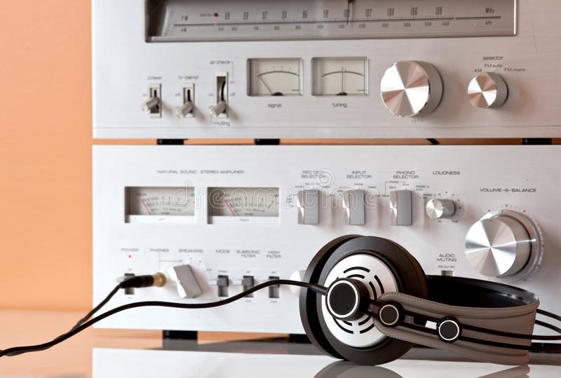 Download Vintage Stereo Amplifier With Headphones Royalty Free Stock Photography - Image: 24123567