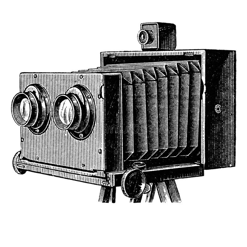 Vintage stereo camera or stereoscopic camera vector illustration