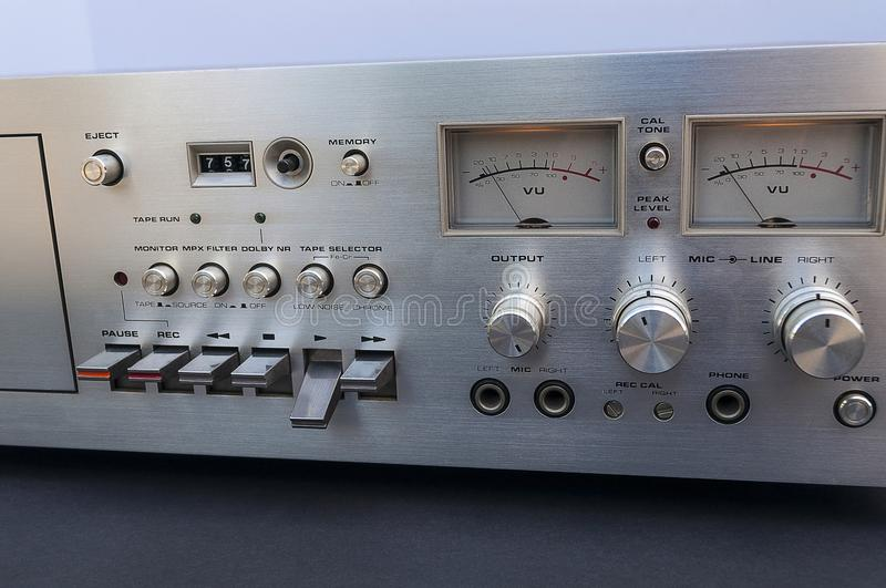 Vintage Stereo Tape Deck Close Up royalty free stock photo