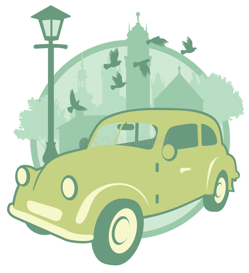 Vintage sticker with a car royalty free stock photography