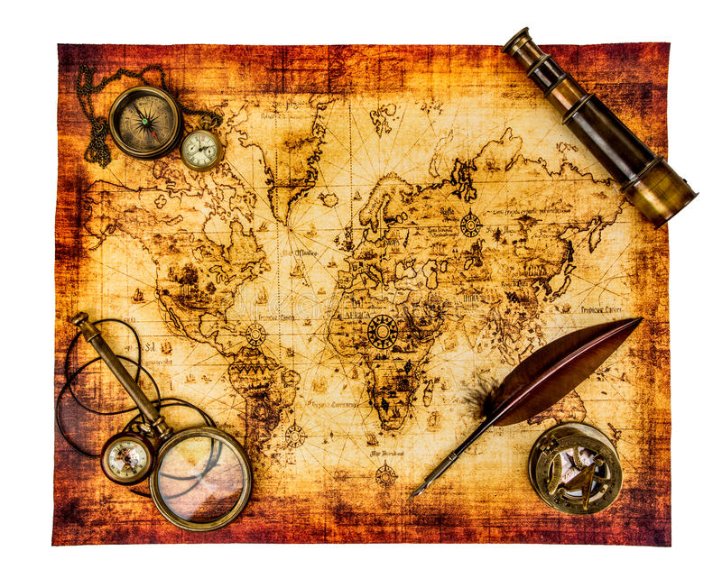 Vintage still life. Ancient world map isolated on white. royalty free stock photo