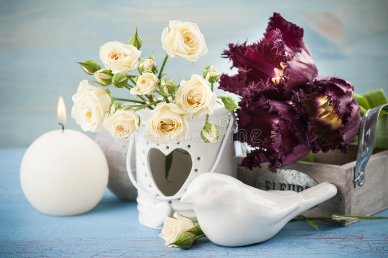 Vintage still life. Bouquet of white roses royalty free stock photo