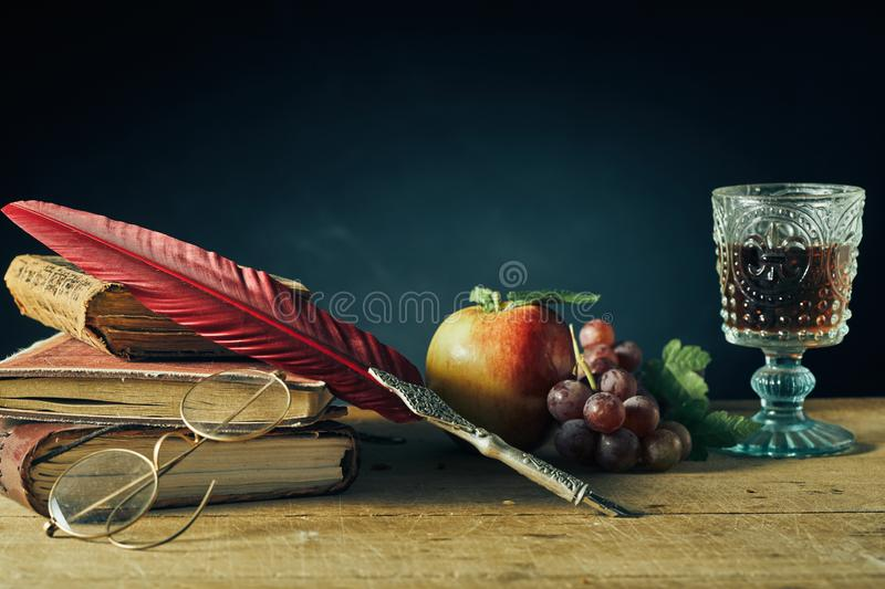 Vintage still life for college or an author royalty free stock images