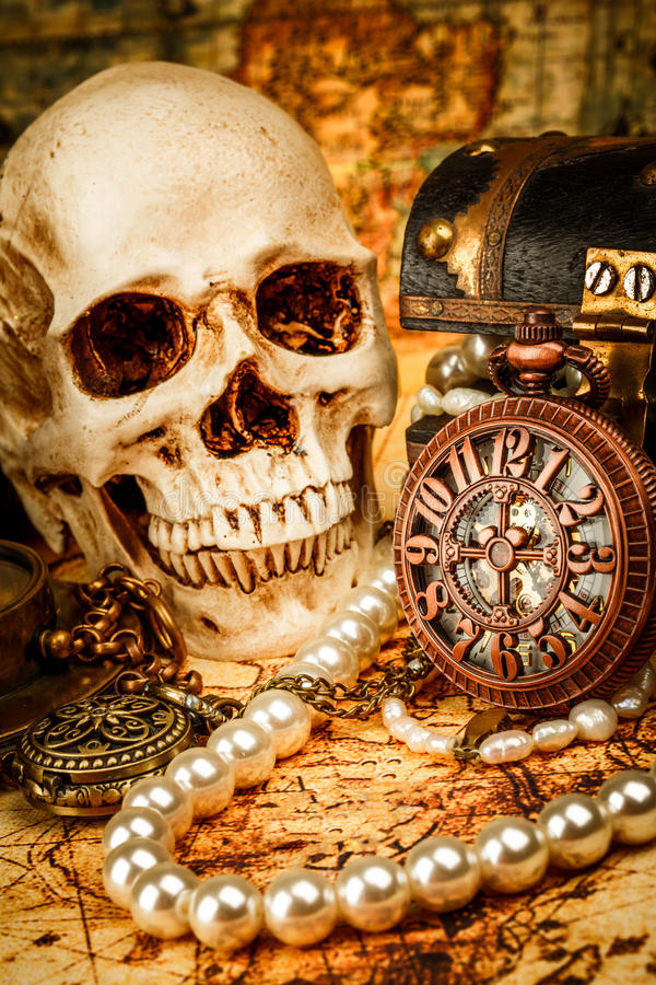 Vintage still life. Vintage grunge still life. Vintage items on ancient map royalty free stock photo