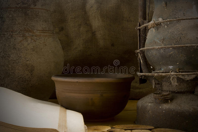 Vintage still life with pottery royalty free stock photography